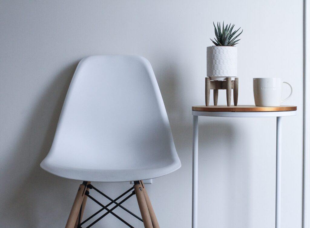 An image of a white ikea chair to illustrate the concept of a chair product owner.