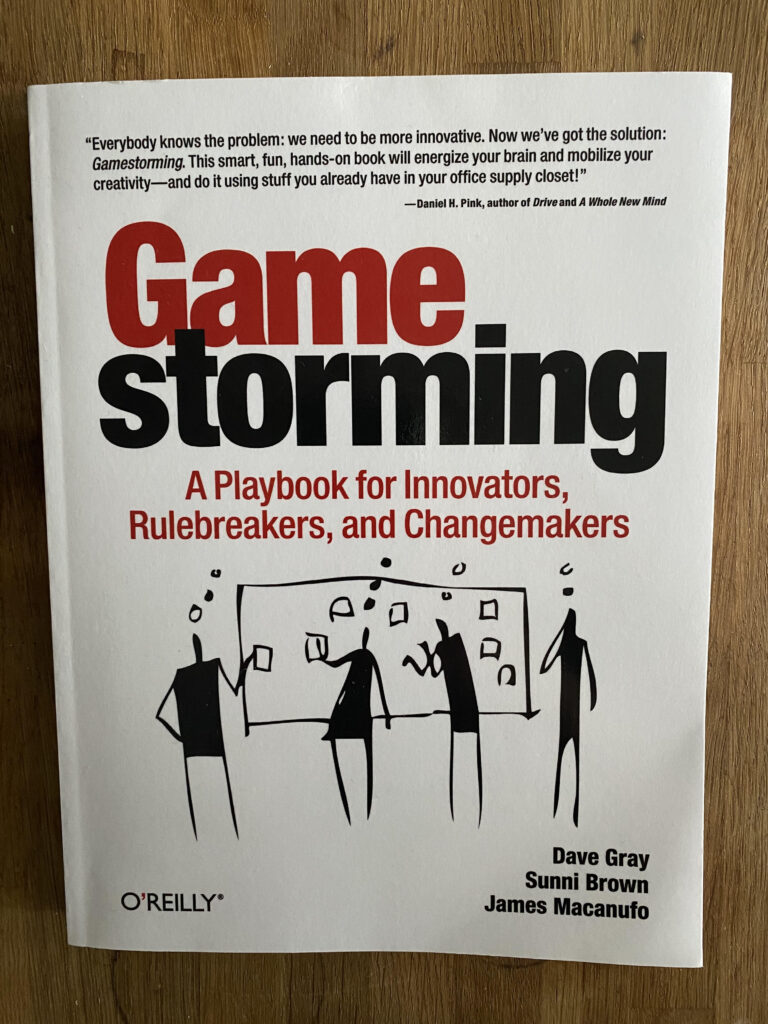 Image of the front cover of the gamestorming book with title and authors.