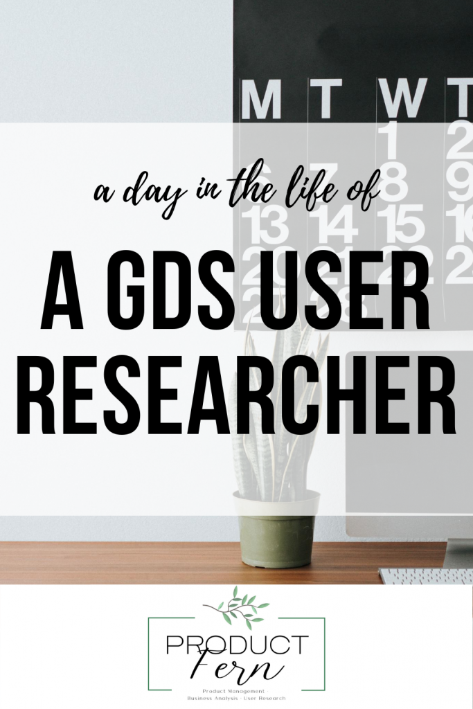 Promo image to be shared stating a day in the life of a gds user researcher