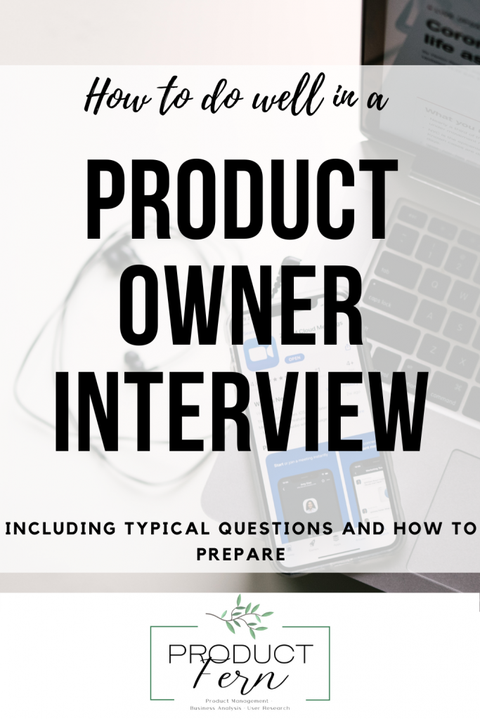 Promo image saying how to do well in a product owner interview - including typical questions and how to prepare.